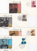 WINSTON CHURCHILL COMMEMORATIVE COVER SET OF 4 FLEETWOOD OCTOBER 9 1974 - $3.98