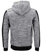 Men's Fleece Zipper Moto Quilt Zip Up Hoodie Drawstring Sweater Jacket Slim Fit image 3