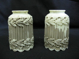 """Pair Vintage Ivory Calcite Electric Lamp Shades w/ Leaf Detail 5 1/2"""" x ... - $124.99"""