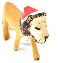 Hand Carved & Painted Jacaranda Wood Santa Hat Lion Safari Christmas Ornament image 4