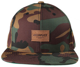 Akomplice Camo Black Flamingo Mob Est. 2004 Label Patch Snapback Baseball Hat NW