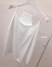 WHITE Sleeveless Silky Tank Tops WHITE Party Tanks Summer Wedding Bridesmaid Top image 2