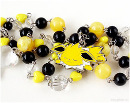 Jolteon Pokemon Necklace, Black and Yellow, Kawaii Jewelry, OOAK - $40.00