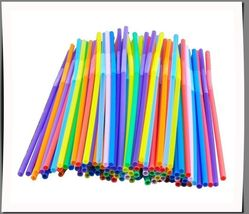 Colorful Extra Long Flexible Bendy Party Disposabl Drinking Straws, 100 ... - €3,58 EUR