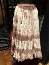 Vintage Long Brown Tie Dye Bussled Peasant Skirt - $44.55