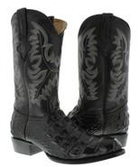 Mens Black Crocodile Back Pattern Cowboy Boots Round Toe Rodeo Botas - $139.99