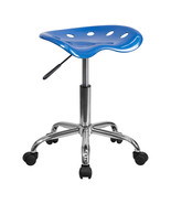 Offex OF-LF-214A-BRIGHTBLUE-GG Vibrant Bright Blue Tractor Seat and Chro... - $53.34