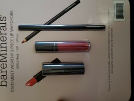 bareMinerals Lip Trio SRSLY RED Luxe Lipstick Set - NEW - $25.25