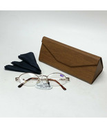 Gold Reading Glasses +1.50 Spring Temples w/ Brown Faux Wood Foldable Ca... - $19.99