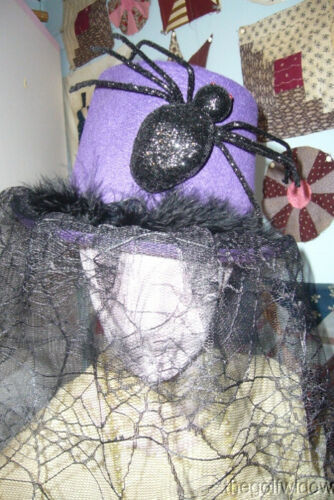 Bethany Lowe Halloween Purple Top Hat with Spider no. LO6459