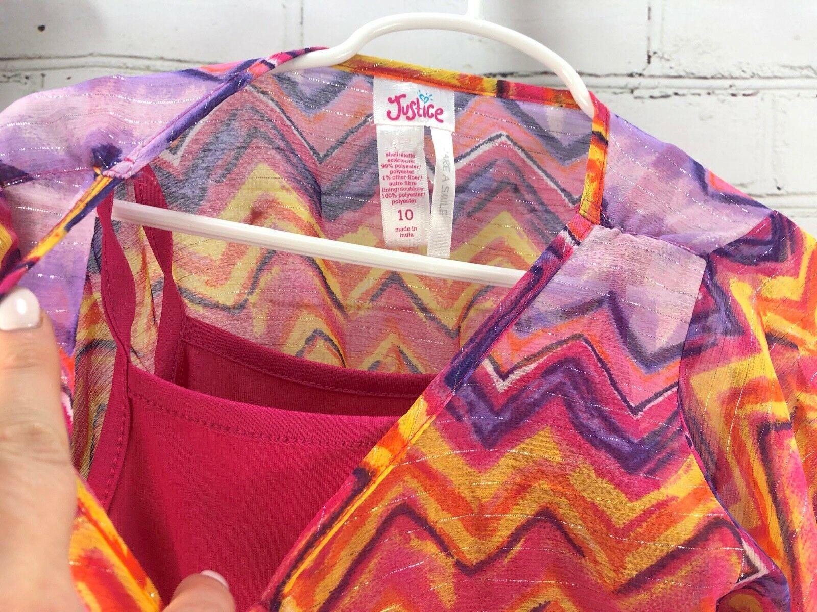 Justice Outfit Set - Boho Flowing Loose Poncho Top + Jean Skirt Skort Sz 10 image 9