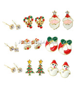 Christmas Santa Claus Candy Cane Bells Wreath Tree Snowman Stud Dangle E... - $5.95