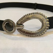 Chicos Black Leather Belt with Silver Oval Buckle Sz S/M - $15.00