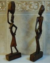 Antique Vintage African Tribal Folk Art Hand Carved Wood Man And Woman Set  - $13.77
