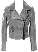Gray Genuine Classical Leather Jacket Silver Studded Zipper For Handmade... - $369.99+