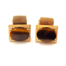 Vintage Anson Gold Tone Mesh Wrap Cuff Links With Oval Tiger Eye Gemstones  - $52.00