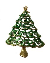 Vintage Christmas Tree Brooch Pin Holiday - $11.87