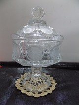 Fostoria Coin Glass Lidded Candy Dish Hex Footed  Clear Excellent (r3-4) - $9.87