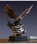 EAGLE & American Flag  Bronze Sculpture Statue Desk Mantle Display USA  ... - $59.00