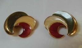 Vintage Large Gold Tone Enamel Swirl Clip-on Earrings - $36.63