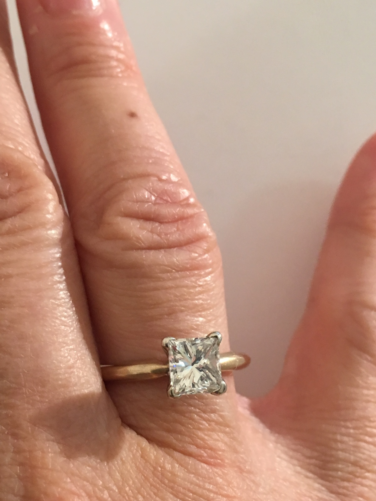 Primary image for Vintage 14K Yellow Gold Womens 1.1ct Princess Cut Diamond Engagement Ring  sz 7