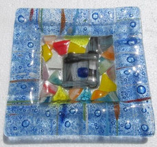 Fused Glass Multi-Colored Murano Style Triangle Glass Display Ashtray - $55.00
