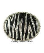 Silver Metal Oval Zebra Print Belt Buckle with Black & Clear Swarovski C... - $39.99