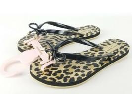 Kate Spade Sandals Nova Black Shiny Rubber Leopard Flip Flops Size 5 New - $29.69