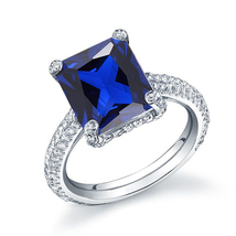 Emerald Cut Blue Sapphire Womens Engagement Ring 14k White Gold Over 925... - £55.68 GBP