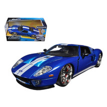 Ford GT Blue with White Stripes Fast and Furious 7 (2015) Movie 1/24 Die... - $20.92