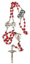 "Vintage Pope John ll Red Beaded Plastic & Metal Rosary Beads 23"" - $10.84"