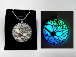BRAIN NEURON GLOW in the DARK Charm Necklace - Biology Round Geek Silver... - $14.20