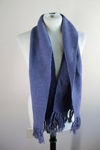 Handmade Harry Sloan Purple Woven Wool Scarf Fringe 9.25x51 - $18.99