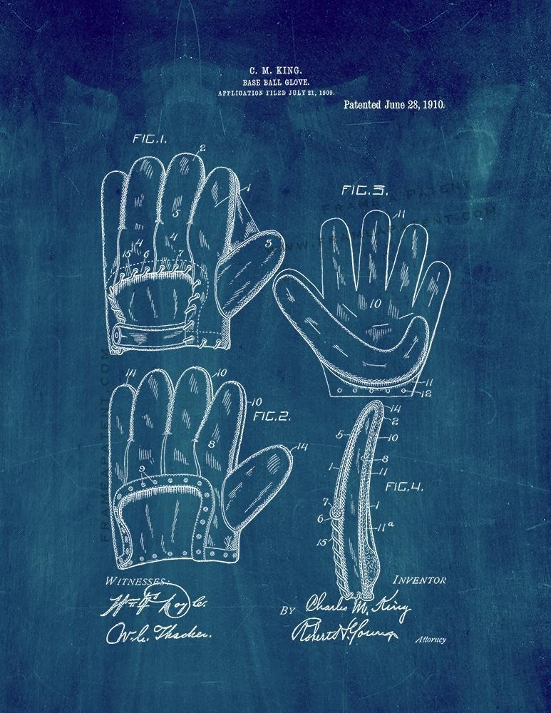 Primary image for Baseball Glove Patent Print - Midnight Blue