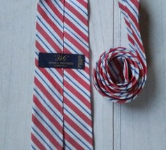 Brooks Brothers 346 Made In Usa Silk Tie Diagonal Strips Red Pure Silk - $14.84