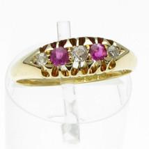 Fine Edwardian 5 Stone 18 Carat Gold Ring Diamond and Ruby, Birmingham 1904 - $270.47