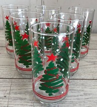 Lot of 6 Libbey Swirl Christmas Tree Snow Red Stripe Tumblers Glasses Holiday - $29.02