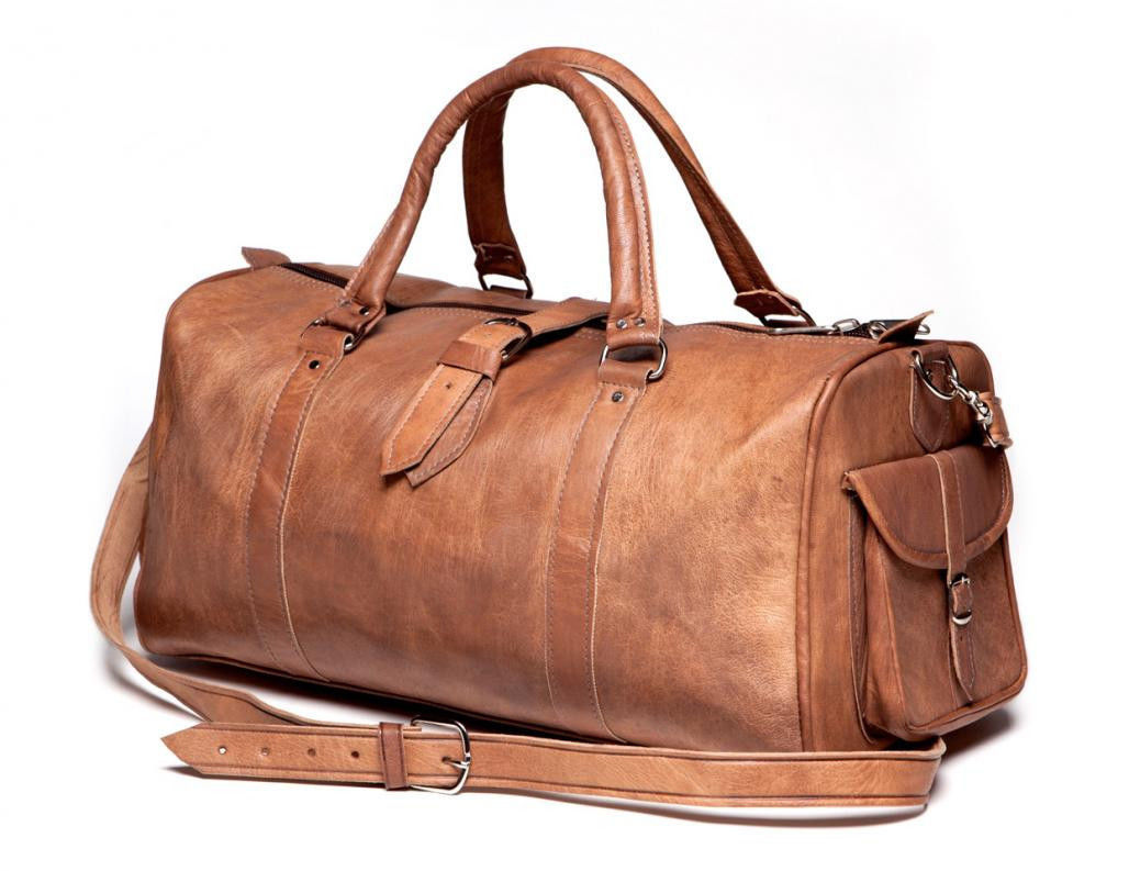 New Genuine Men Soft Leather Duffel Travel Luggage Gym Weekend Overnight Bags