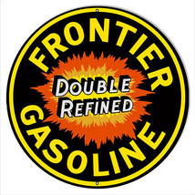 Frontier Gasoline Reproduction Garage Shop Metal Sign 30x30 Round - $100.98