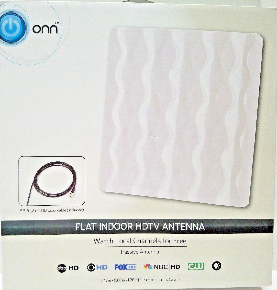 Primary image for Onn ONA17CH002 Flat Indoor HDTV Antenna Watch Local Channels for Free Ship - NEW