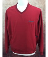 Nike Golf Wind Shirt V Neck Zip Pockets Red Embroidered ACCURIDE Men's M... - $11.03