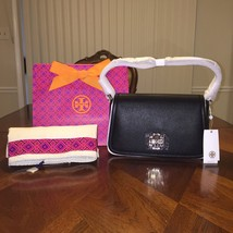 NWT Tory Burch Brittn Shoulder Bag in Black with Tory Gift Bag - $317.54