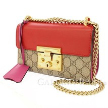 GUCCI Chain Shoulder Bag GG Supreme Leather Beige Red 409487  Authentic ... - $1,092.22