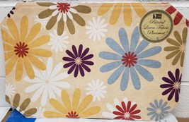 "SET OF 2 FABRIC LINEN PLACEMATS 12"" x 18"", MULTICOLOR FLOWERS by BH - $9.89"
