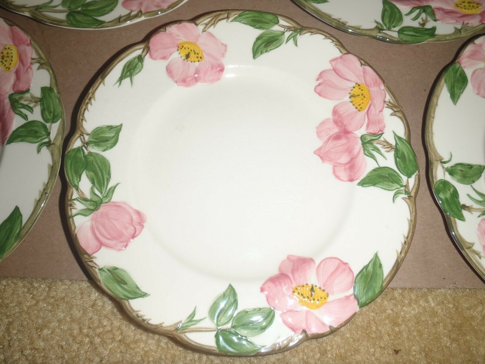 "Set of 10 Vintage Franciscan Desert Rose  8"" Salad Dessert Plates California"