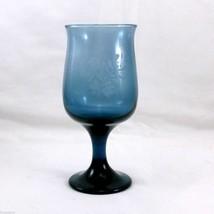 "Pfaltzgraff Yorktowne Goblet 8 oz Blue Pedestal Glass with Floral Etch 5-5/8"" - $7.43"