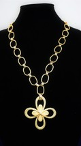 "Crown Trifari Textured Clover 24"" Necklace 1954 Metal Crown T Tag  Attached - $90.89"