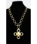 """Crown Trifari Textured Clover 24"""" Necklace 1954 Metal Crown T Tag  Attached - $90.89"""