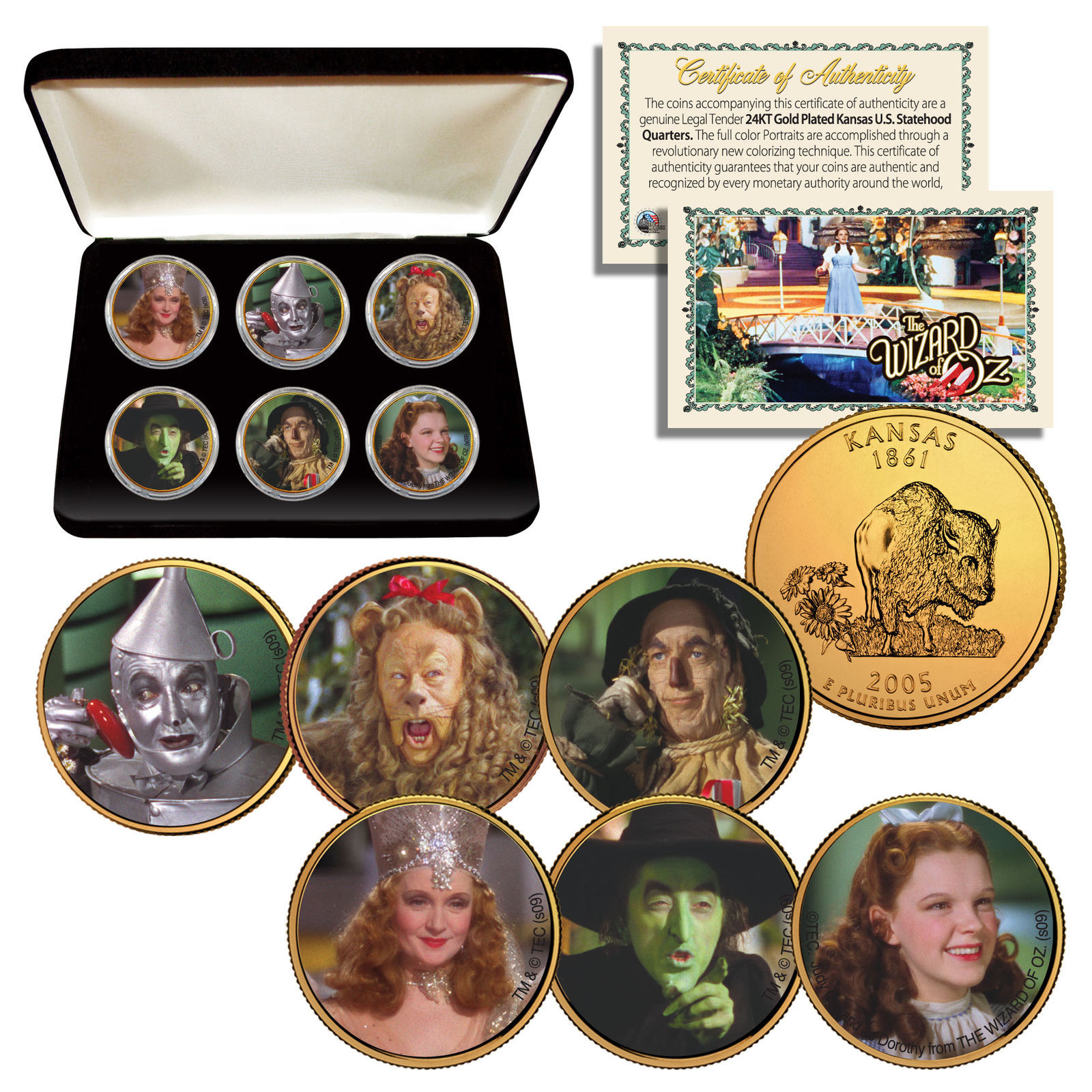 Primary image for WIZARD OF OZ Kansas State Quarters 6-Coin Set 24K Gold Gilded with Box LICENSED