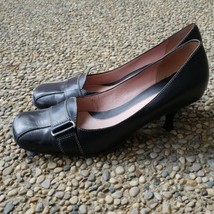 Nine West Black Square Toe Leather Upper Heels - Size 7.5 - $18.99